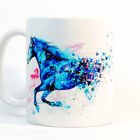 Horse coffee mug, Horse mug Watercolor Mug Coffee Cup, Watercolor ceramic mug Printed mug, Ceramic mug