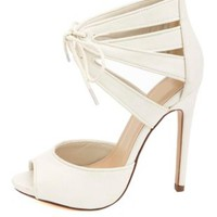 Lace-Up Cut-Out Peep Toe Heels by Charlotte Russe - Off White