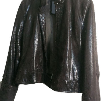 Womens brown snake skin leather print jacket