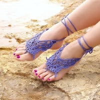 Crochet Butterfly LAVENDER Barefoot Sandals Nude shoes by Lasunka
