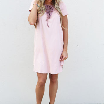 Suede Sisters Lace-Up Dress {Pink}