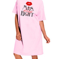 Matching Husband and Wife Designs - Mrs Always Right Adult Wear Around Night Shirt and Dress