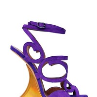 EDMUNDO CASTILLO - 120MM IRIDESCENT SUEDE WEDGED SANDALS - LUISAVIAROMA - LUXURY SHOPPING WORLDWIDE SHIPPING - FLORENCE