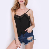 Black Spaghetti Strap Buttoned Top with Lace