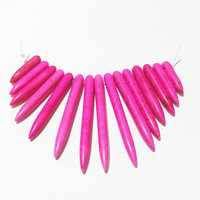 Hot Pink Fuchsia Spikes Needles Sticks Magnesite Turquoise Ethnic Graduate Fan Beads, Tribal Beads, Beads for Jewelry Making