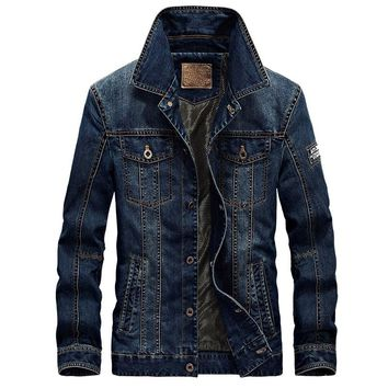 2018 New AFS JEEP Denim Jacket Men Turn-Down Collar Fashion Slim Outerwear Jaquetas Masculino Jeans Jacket Plus size 4XL