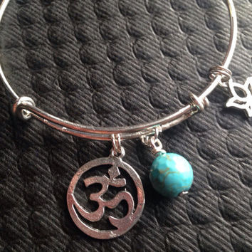 Lotus Om and Turquoise Wire Wrapped Stone Silver Adjustable Bangle Charm Bracelet Expandable Charm Bracelet