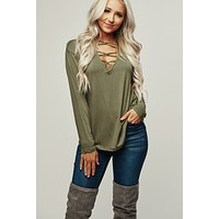 Catty Caged V-Neck Top (Olive)