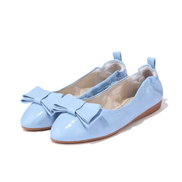 Pointed Toe Patent Leather Bow Women Flats Shoes 1760