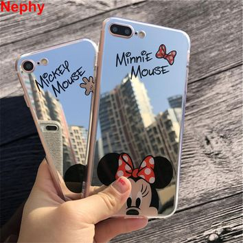 Nephy Phone Case For iPhone X 10 8 7 5 6 s 5s 6s Plus 6Plus 6sPlus 7Plus 8Plus Mickey Minnie Mirror Full Cover Soft TPU Silicon