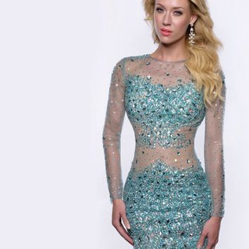 Sheer O-Neck Beads Crystals Short Prom Party Dresses 2015 Sexy L 140a2e5dc86b