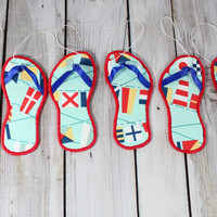 Christmas Ornament Flip Flop Coastal Decor Beach Theme Nautical Flag  Lobster Fabric Ocean Holiday Ornament Stocking Stuffer