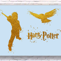 Harry Potter Magic Wand Gold Art Print Instant Download Printable Blue Edition
