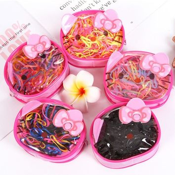 400pcs/Lot Cute Cat Box Packed Girls Disposable Colorful Rubber Bands Elastic Hair Bands Ponytail Holder Kids Hair Accessories