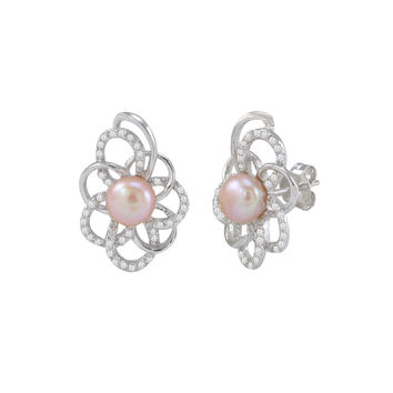 Pink Pearl Elegant Flower Stud Earrings White CZ Petals .925 Sterling Silver