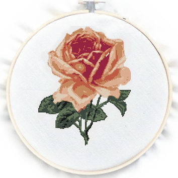 Vintage Rose  Cross Stitch Pattern, PDF counted chart, No.73, Instructions