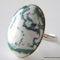 Ring Tree Agate Natural 18x25mm Stone and Silver Plated Adjustable Ring