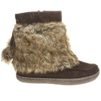 Qupid Womens PAXTON12X Closed Round Toe Faux Fur Furry Tie Up Pom Pom Ball Ankle Bootie Boots Flat Mukluk Shoes, Brown Faux Suede, 7 B (M) US