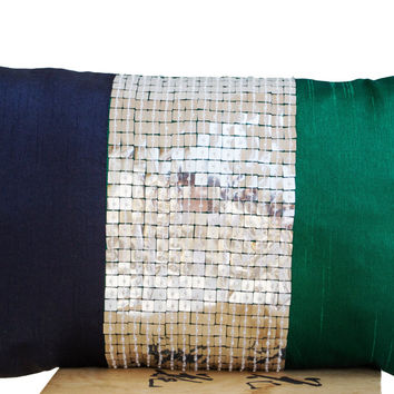 Throw Pillow -Emerald green, navy blue, silver color block silk sequin detail cushion -sequin pillow -12x20 Color block lumbar pillow- gift
