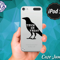 Trick or Treat Black Crow Halloween Inspired Spooky Tumblr Rubber Transparent Clear Case For iPod Touch 5th Generation iPod Touch 6th Gen