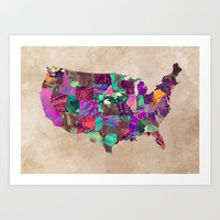 USA map art 3 #usa #map Art Print by jbjart