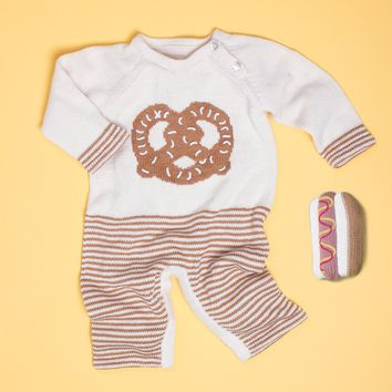 Organic Cotton Pretzel Romper Set With Hot Dog Rattle