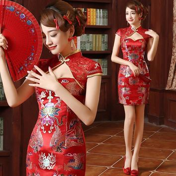 dragon red phoenix oriental silk longfeng formal satin backless sexy satin wedding evening peony qipao chinese traditional dress