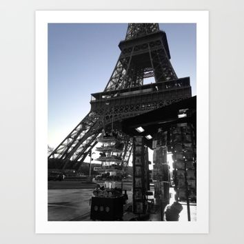 Eiffel tower Paris black and white with color Art Print by Mr Splash