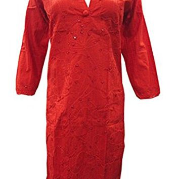 Mogul Bohemian Tunic Hand Embroidered Designer Boho Cotton Kurti Dress