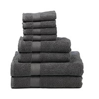 """Premium 100% Cotton 8-Piece Towel Set (2 Bath Towels 30"""" X 52"""", 2 Hand Towels 16"""" X 28"""" and 4 Washcloths 12"""" X 12"""") - Natural, Soft and Ultra Absorbent (Grey) BACK TO COLLEGE"""