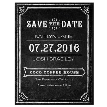 Save the Date Card with Chalkboard Print Design - The Knot Shop
