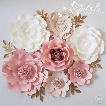 7 piece Nursery paper flowers - Paper flower set - Paper flower wall decor - Girls nursery wall decor - Nursery room decor - Paper flowers