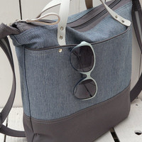 Weekender bag - Gym bag - Messenger Bag - Diaper bag Blue - Canvas totes - Travel bag