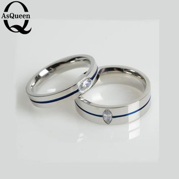 2017 Fashion Thin Blue Line Titanium Ring Wedding Brand 4MM/6MM BLUE Rings For Men Jewelry