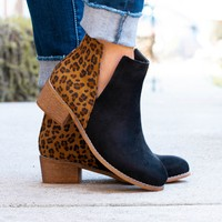 Shield Black Leopard Ankle Boots