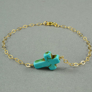 SALE: Turquoise Sideways Cross Bracelet, 14K Gold Filled Chain, Fashion, Simple, Pretty, can be made in Sterling Silver Chain