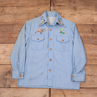 "Mens Vintage 1970s Blue Embroidered Western Cowboy Shirt Large 42"" XR 9123"