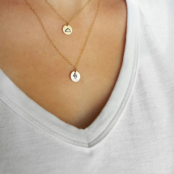Gold Filled Mini Mountain Necklace | Mini Cactus Necklace | Nature Jewelry | Hand Stamped Jewelry | Hiking Necklace | Circle Tag Pendant