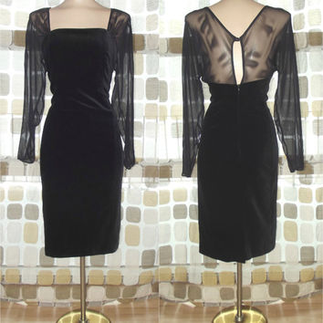 Vintage 80s Does 50s Sheer Sleeve Black Velvet Cocktail Wiggle Dress 14 Laura Ashley