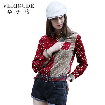 Veri Gude Polka Dot Blouse Women Button-down Corduroy Shirt Contrast Color