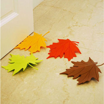 New Maple Autumn Leaf Style Home Decor Finger Safety Door Stop Stopper Doorstop #55827