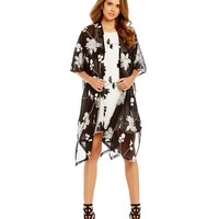 Gianni Bini Fan Fav Kat Printed Long Kimono | Dillards