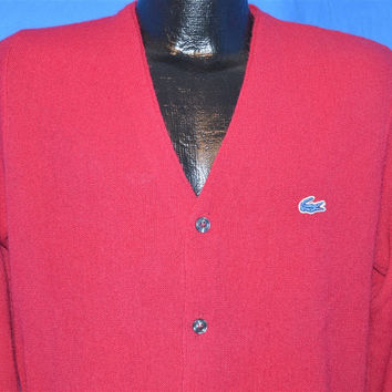 70s Izod Lacoste Maroon Cardigan Sweater Medium