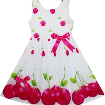 Sunny Fashion Flower Girl Dress Red Apple Green Leave Satin Bow Tie 2017 Summer Princess Wedding Party Dresses Clothes Size 2-6