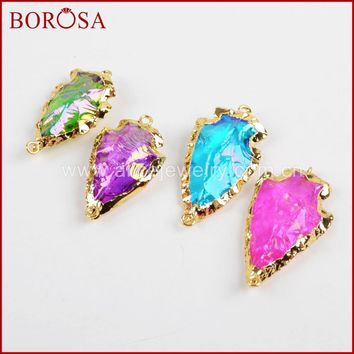 BOROSA 5pcs Druzy Arrowhead Natural Titanium Crystal Quartz Gold Color Connector Double Bails for Bracelet DIY Making G1362