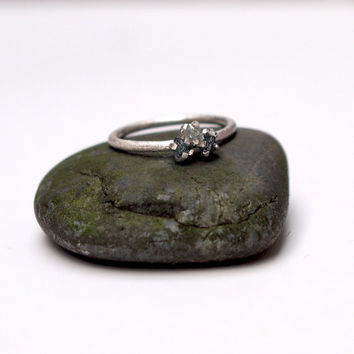Triple raw diamond ring in sterling silver - three blue diamonds - engagement ring