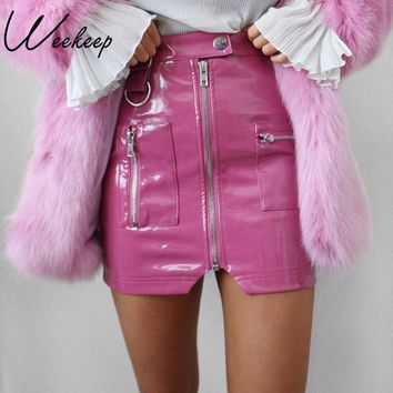 Weekeep Sexy High Waist PU Leather Skirt Women Slim Zipper Pocket Skirts Womens Spring Autumn Elegant  Mini Streetwear Skirts