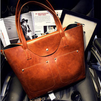 Women Fashion Leather Handbags Tote Sling Messenger Bag Big Over Shoulder Retro European And American Style Cover Solid Casual