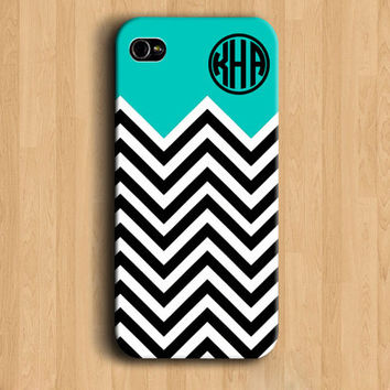 Chevron stripe monogram phone case, iPhone 4 case - Tiffany blue black white chevron, Iphone 4s cover 5 monogram iphone case - NFNL22