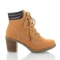 Essence47 Camel By Wild Diva, Lace Up Chunky Heel Padded Ankle Booties